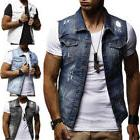 NEW Men's Casual Sleeveless Vest Cowboy Denim Jean Jacket Co