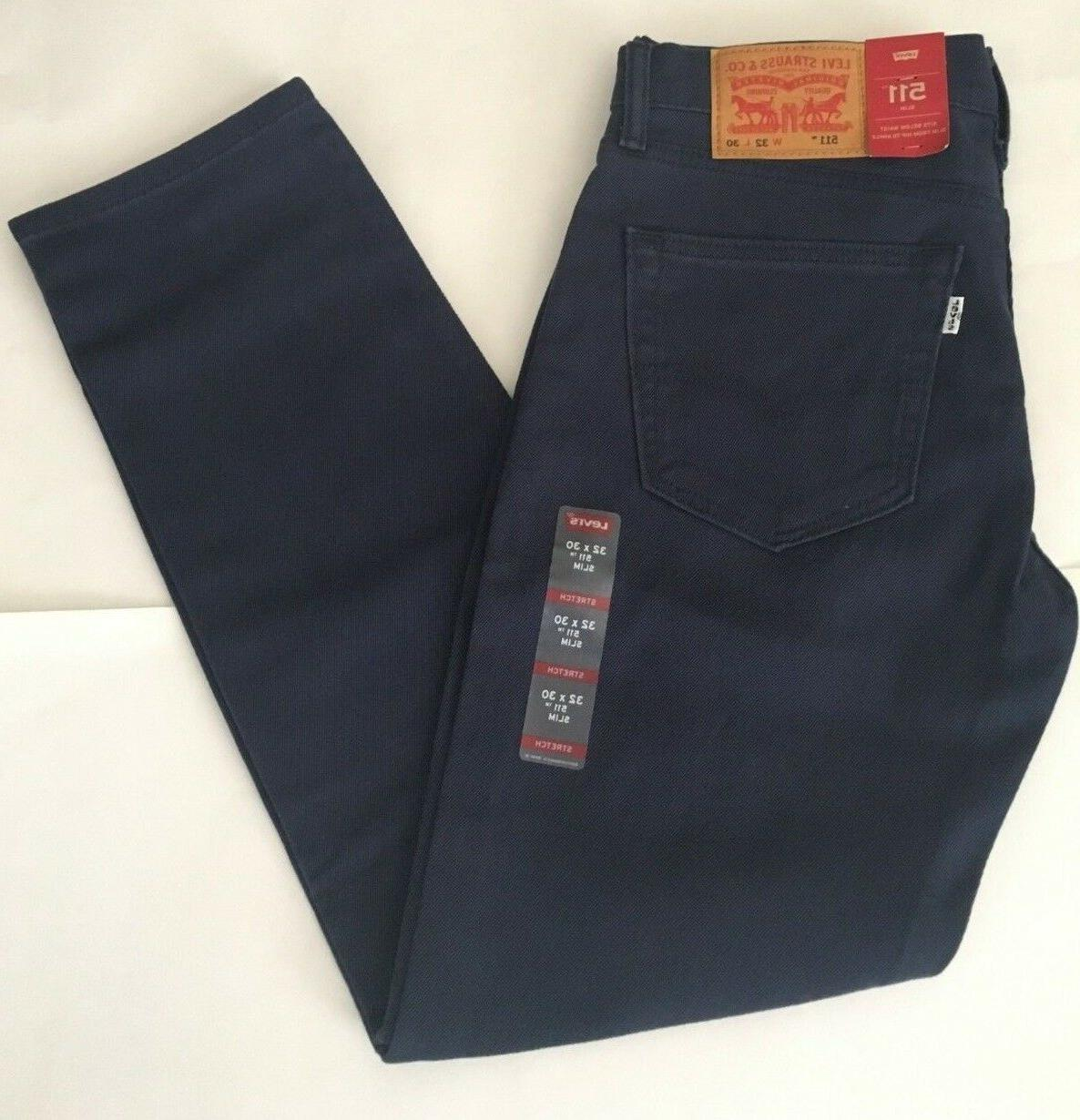 NEW Men's Levi's 511 Slim Fit Stretch Jeans, Dress Blues -