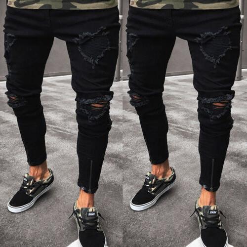 Stylish Men's Jeans Destroyed Fit Pants