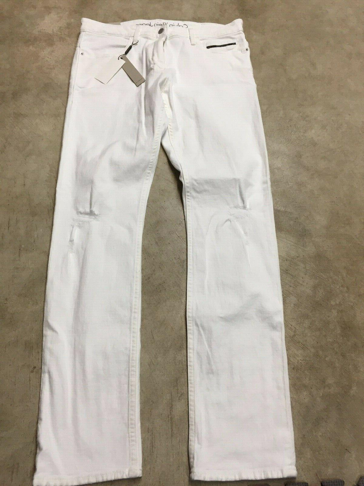new mens jeans slim fit white distressed