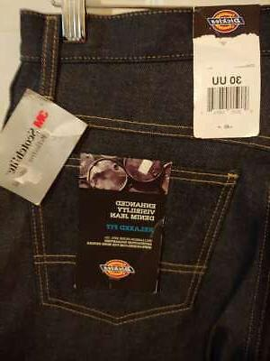New Tags Men's Dickies Reflective Jeans Size 30UU #A