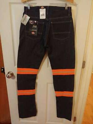 New With Men's Dickies Reflective Relaxed Fit Jeans #A