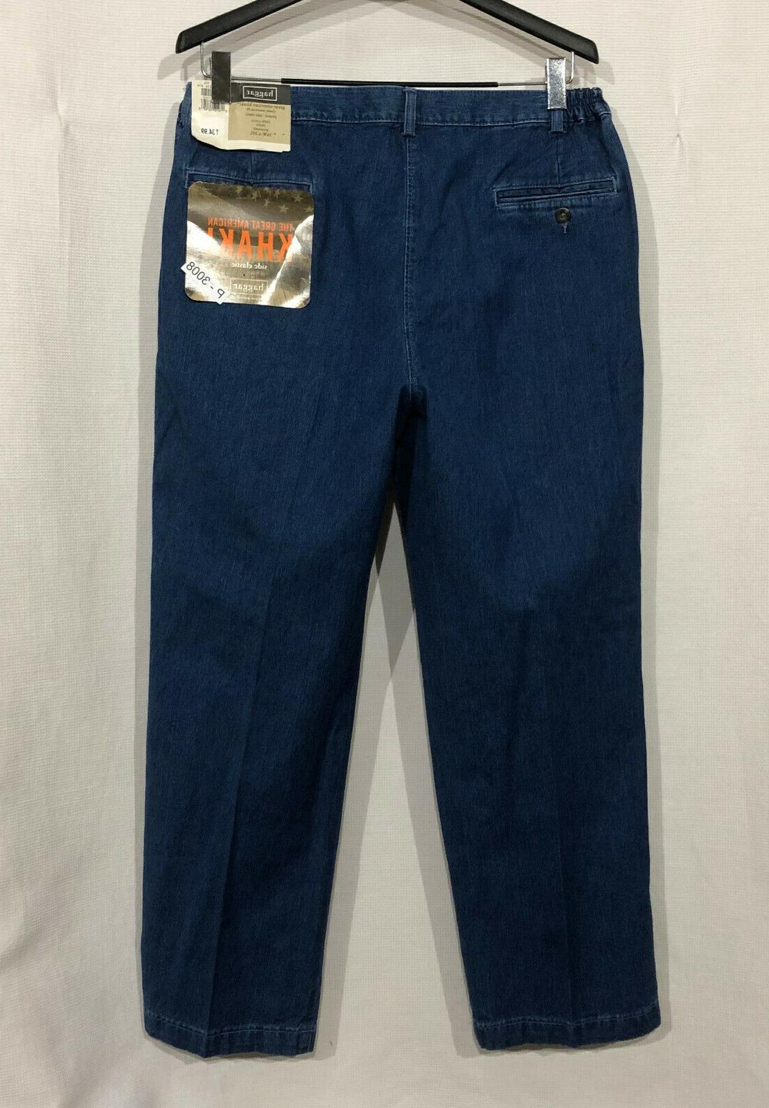 NWT Haggar 36 x Blue Pleated Side Khakis