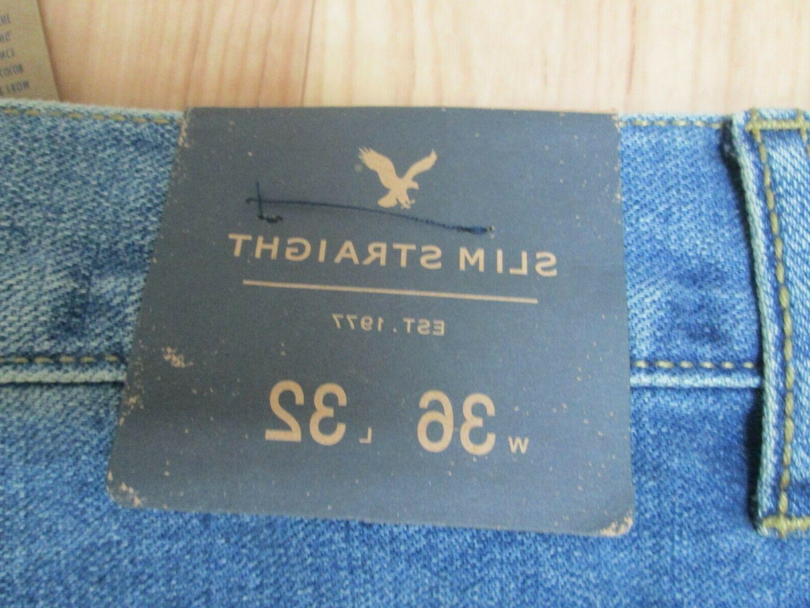 NWT Eagle Medium Wash Tinted Slim Jeans 36/32