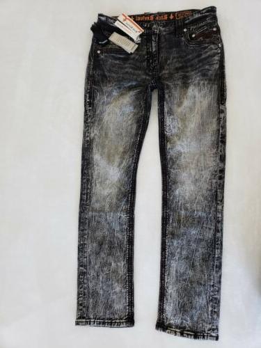 NWT Alt Straight jeans black acid mens size 30 x 34