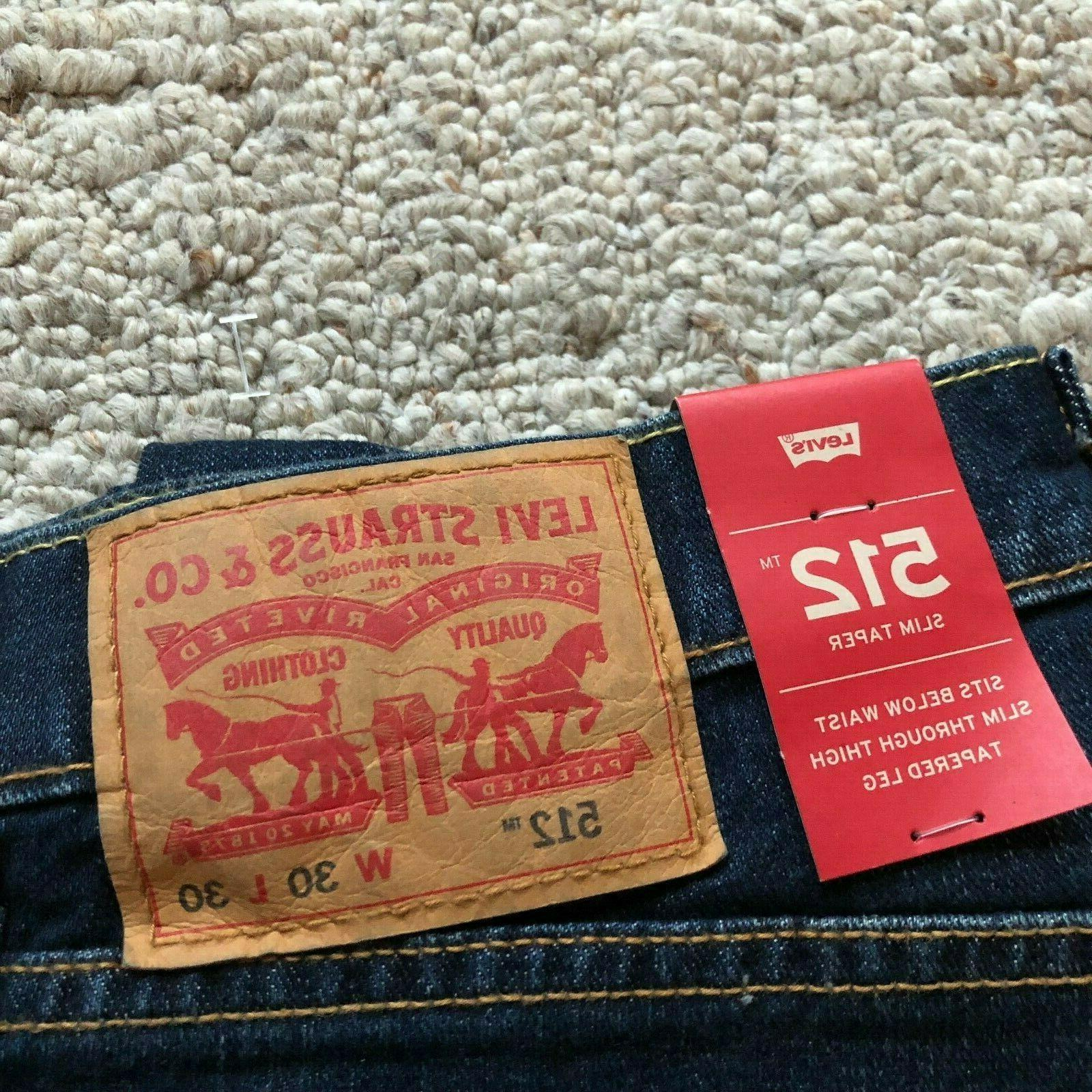 NWT Levi's 512 Slim Leg Jeans Stretch Pants Dark