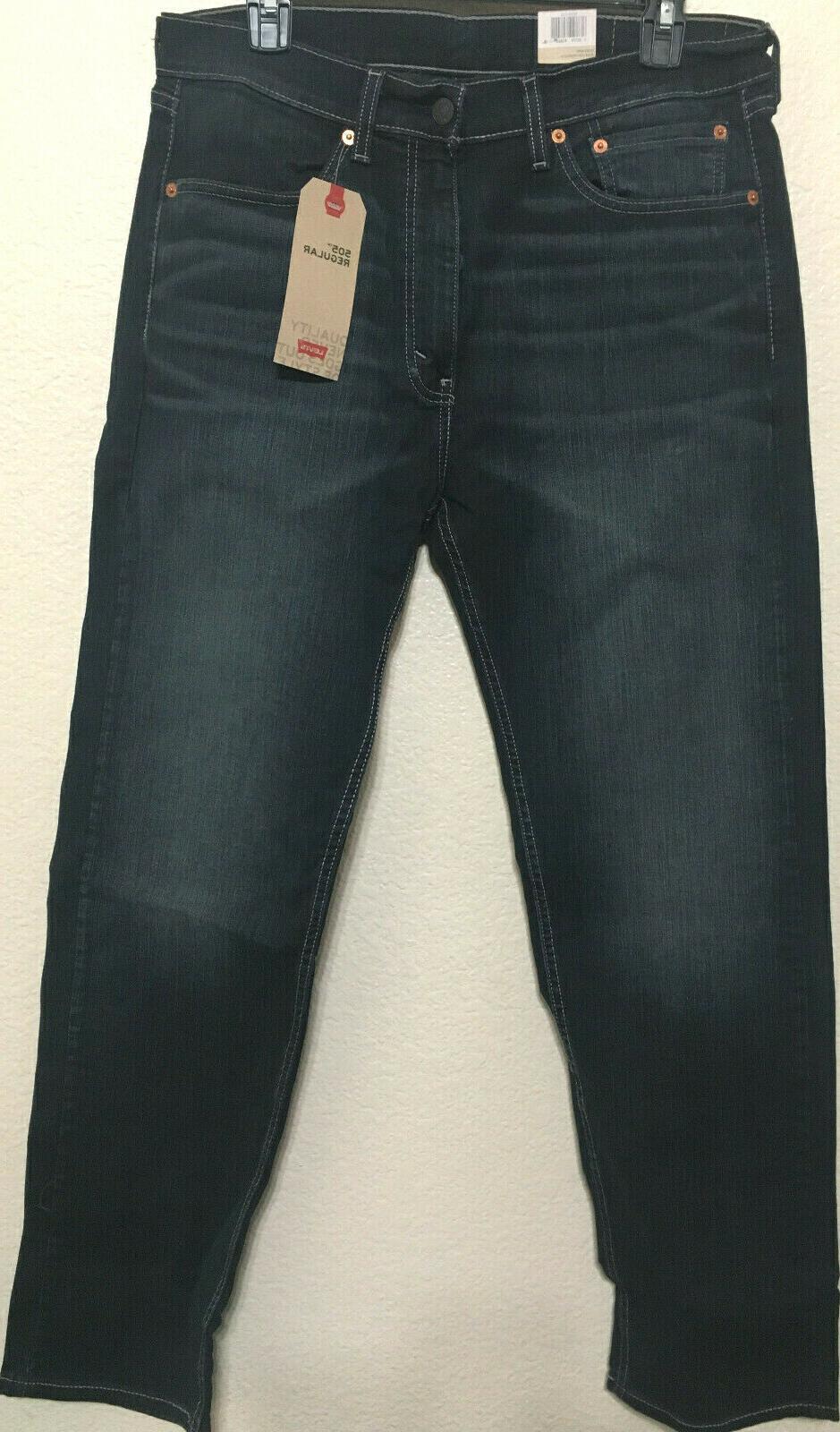 NWT MEN LEVI'S 1330 REGULAR FIT STRAIGHT LEG JEANS D.BLUE STRETCH