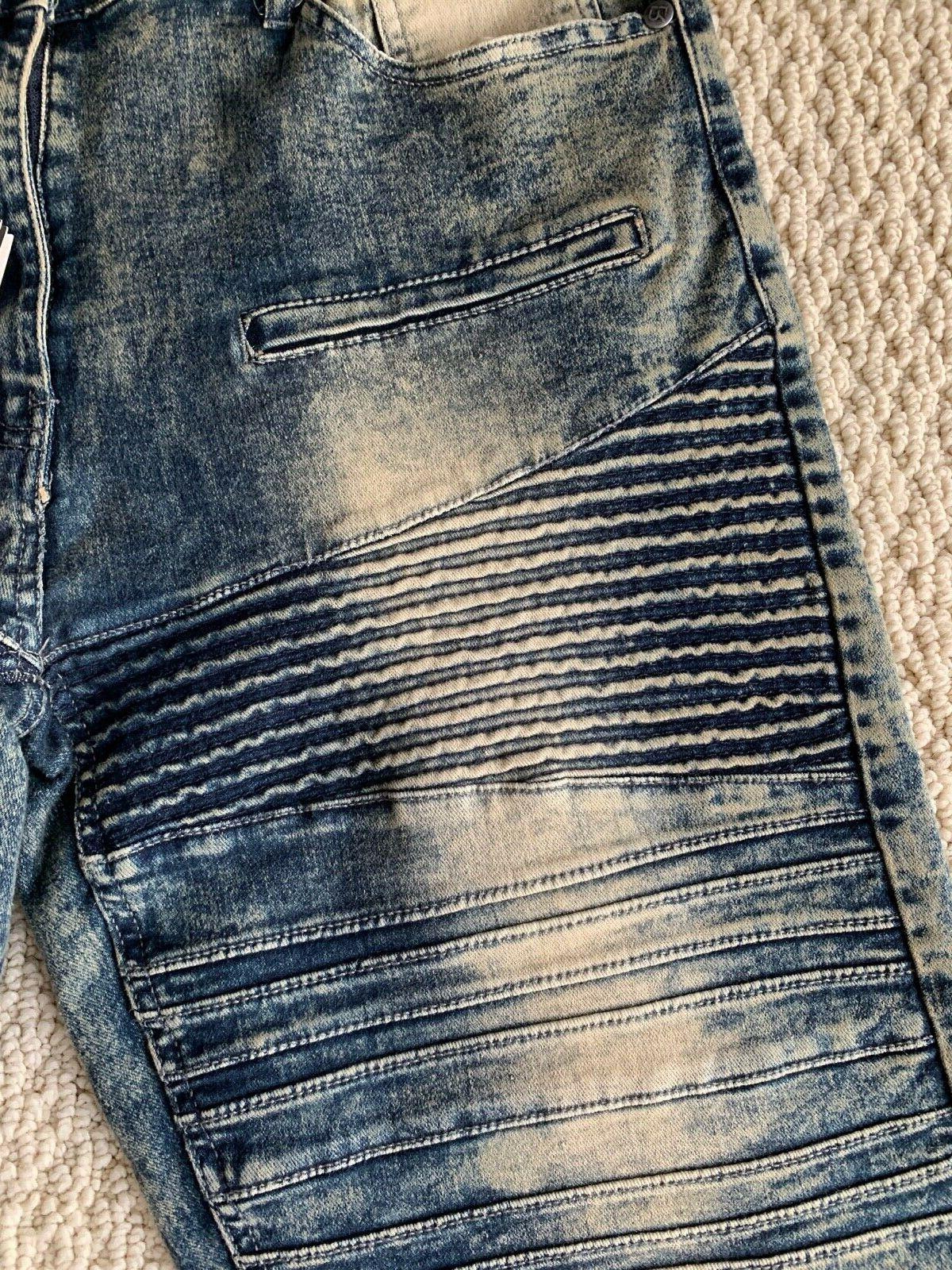 NWT Men's MHS80 Blue Acid Washed Denim Shorts 32-36