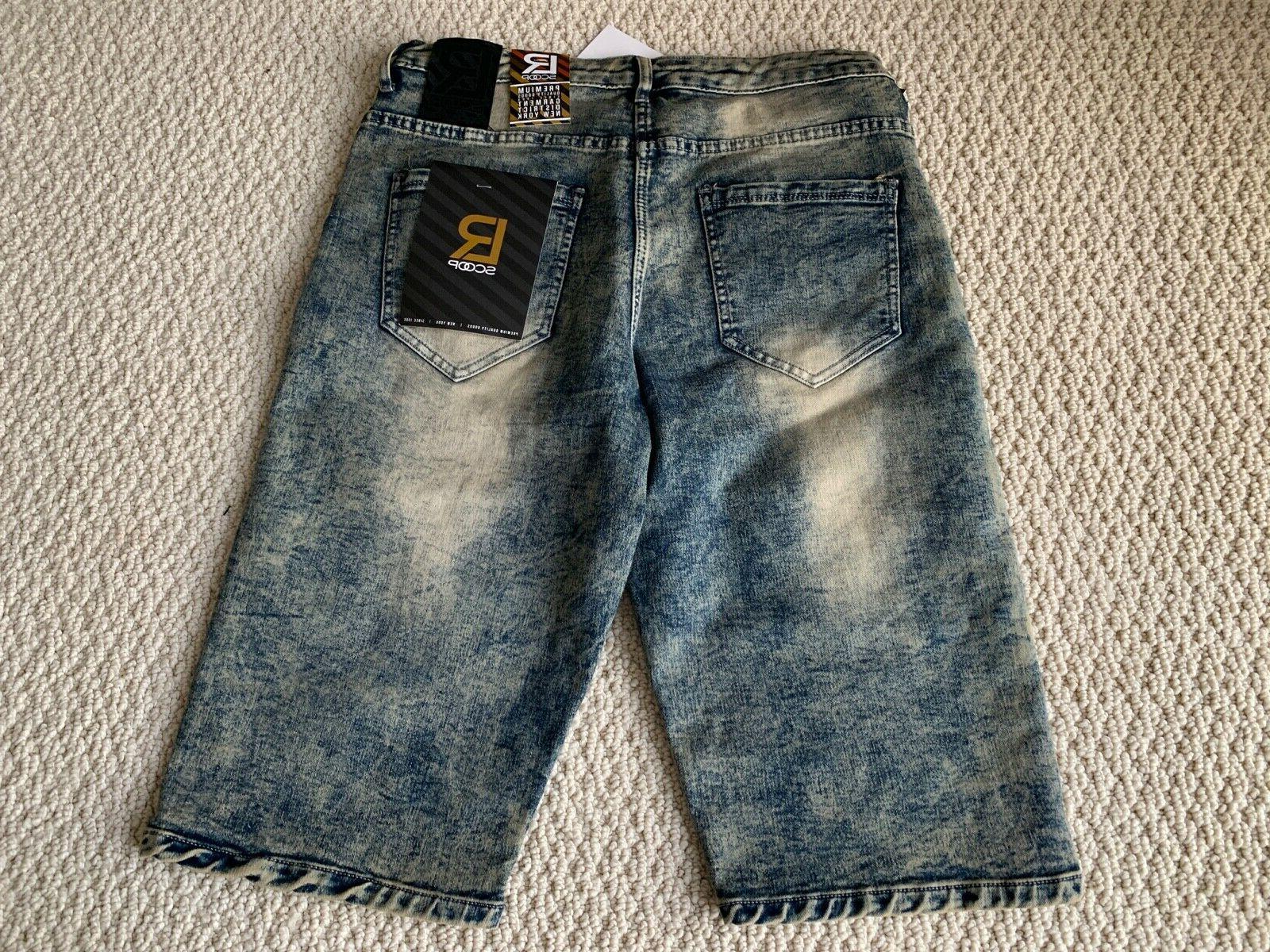NWT Men's LR Scoop MHS80 Moto Acid Washed Denim Shorts