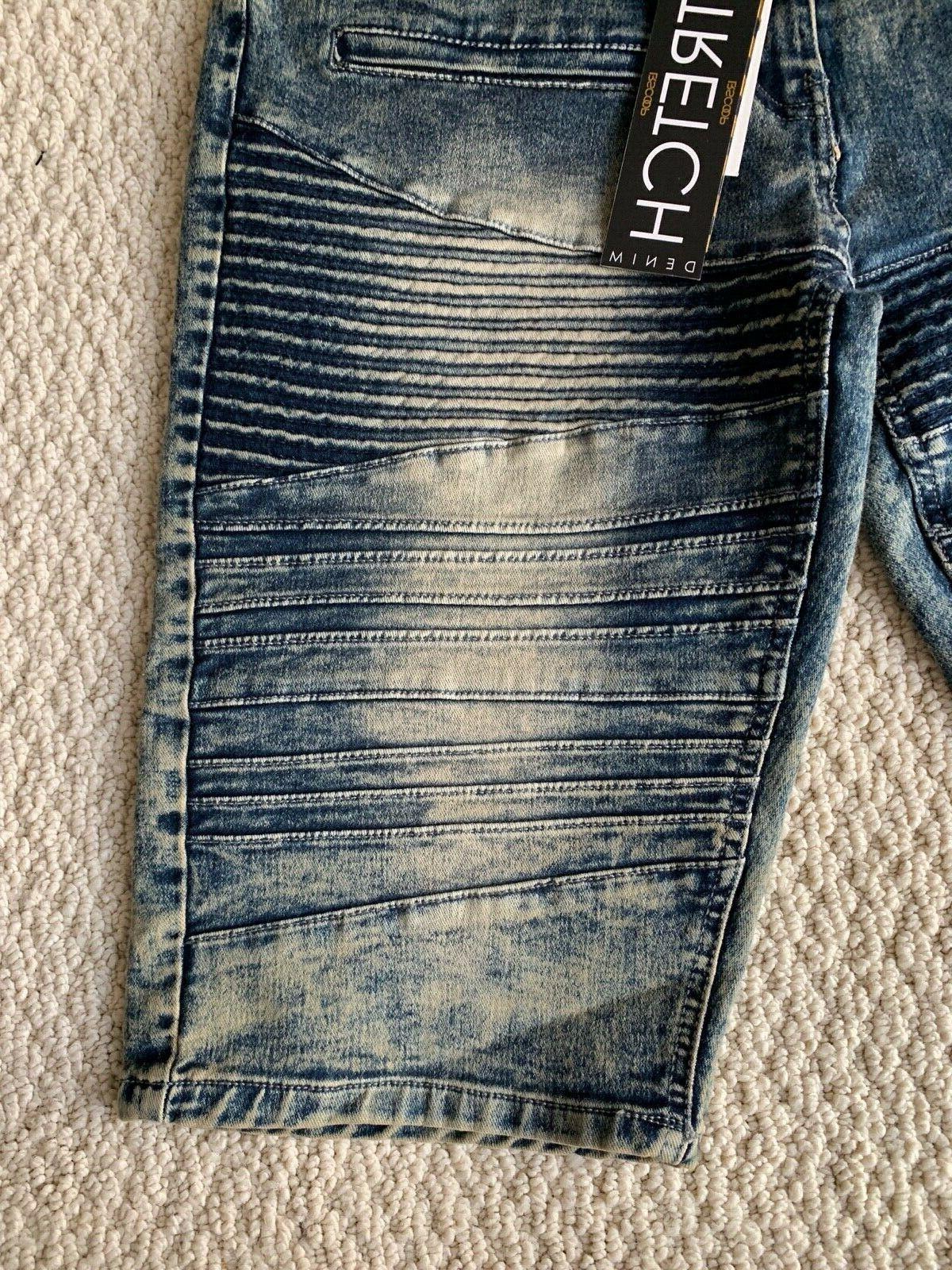 NWT Men's LR Scoop MHS80 Blue Moto Acid Washed Jean Shorts