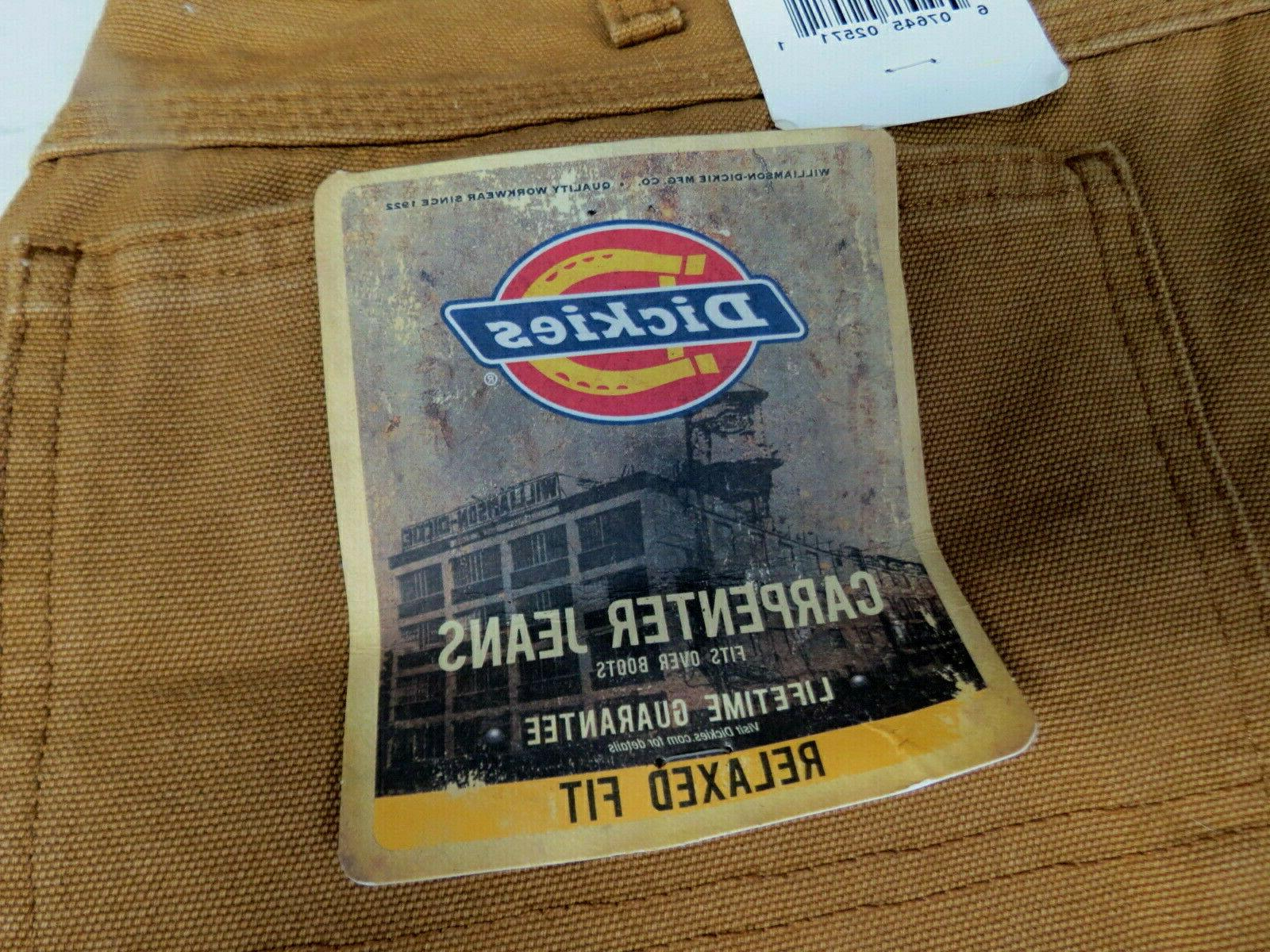 NWT DICKIES JEANS PANTS RELAXED BROWN 36 X NEW FREE SHIP