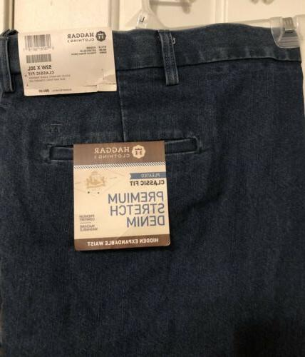 "Haggar Pleated Classic Fit 30"" Tall Jeans Men's"