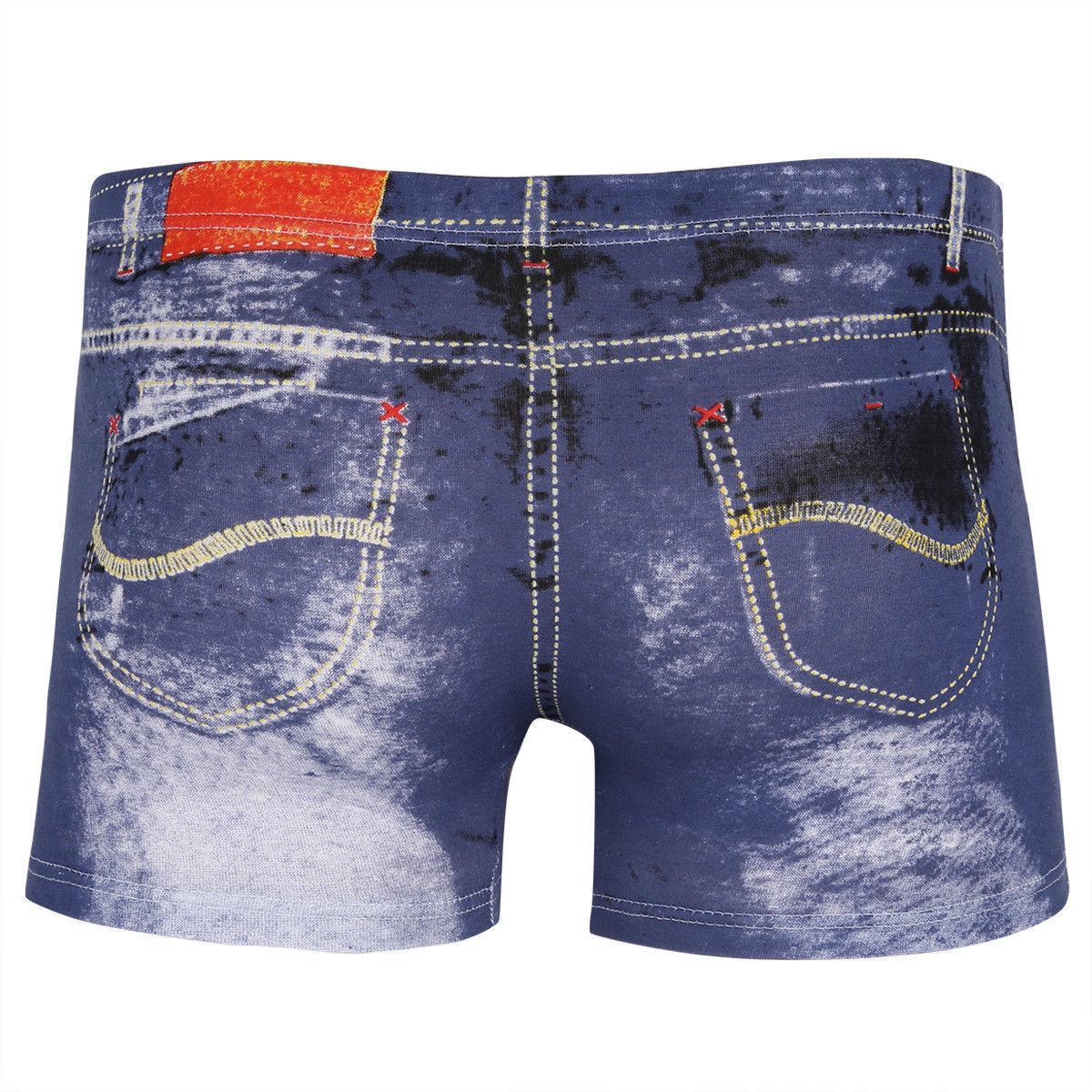 Plus Size Cotton Shorts Denim Boxer Trunks Briefs Underwear