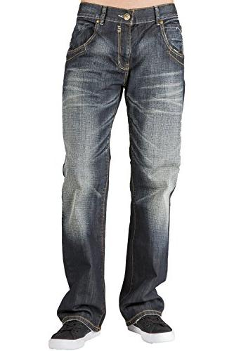 relaxed bootcut denim jeans whisker