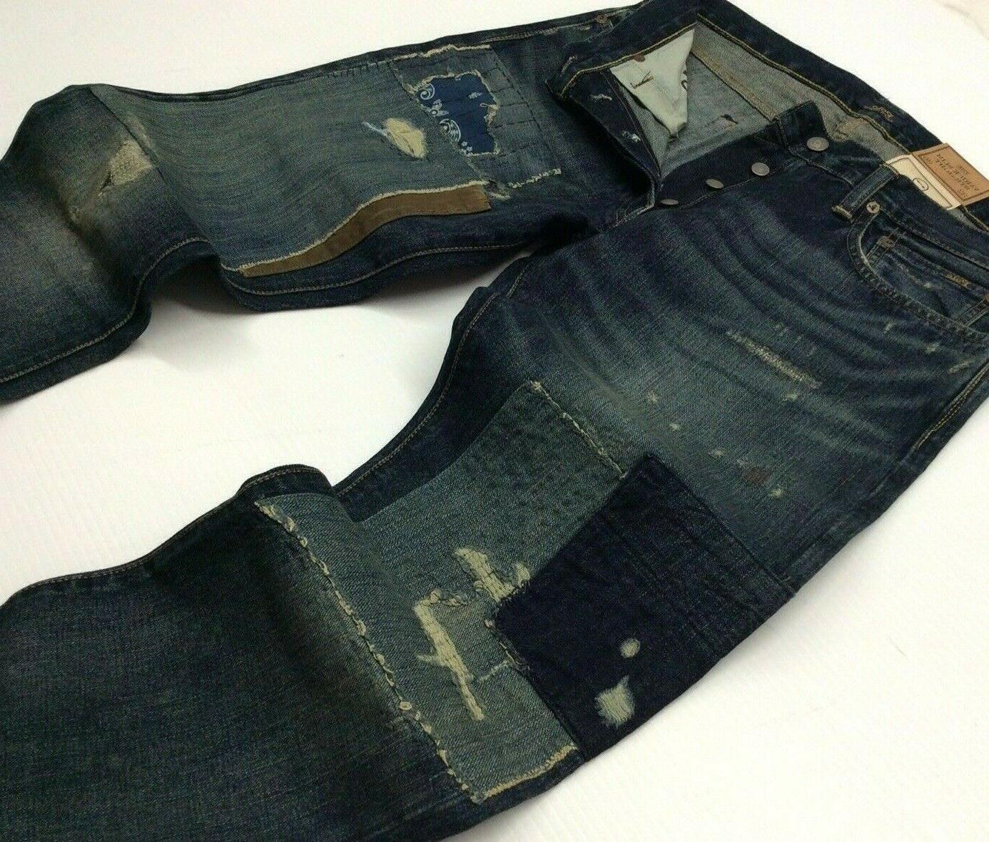 repaired patchwork distressed shred ripped slim straight
