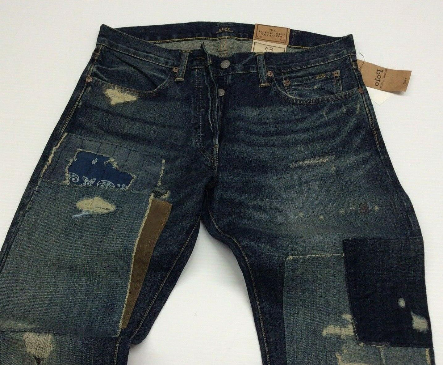 Polo Patchwork Shred Slim Straight Jeans