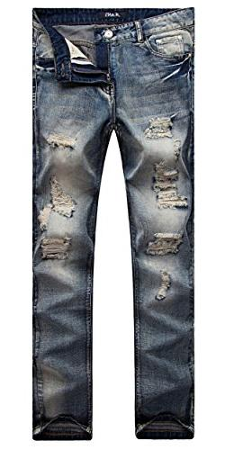Mens Retro Blue Ripped Straight Slim Fit Casual Destroyed Br