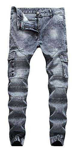 FEESON Men's Retro Washed Grey Patched Side Pocket Cargo Bik