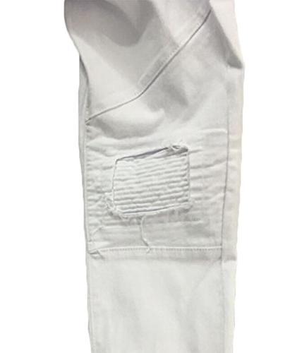Men's Destroyed Fit Zipper White