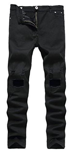 Qazel Vorrlon Men's Black Ripped Skinny Distressed Destroyed