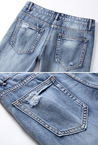 FEESON Men's Fit Jeans Vintage Holes
