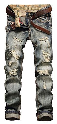 NITAGUT Men's Ripped Slim Fit Tapered Leg Jeans Grey-US 34