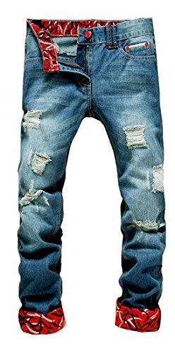 Jouica Men's Ripped Slim Fit Tapered Leg Jeans Blue-US 30