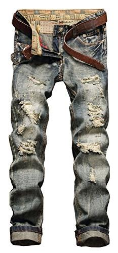 YTD Men's Black Jeans Ripped Distressed Slit Denim Slim Stre