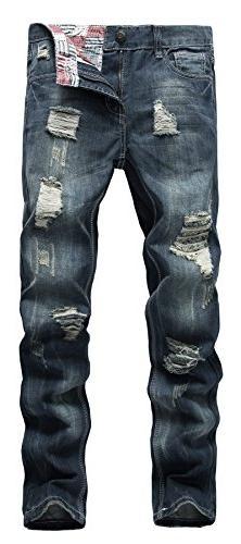 NITAGUT Men's Ripped Slim Fit Tapered Leg Jeans Dark Blue-US