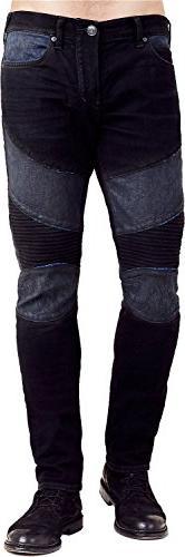 True Religion - Mens Rocco Moto Skinny Jeans, Size: 36, Colo