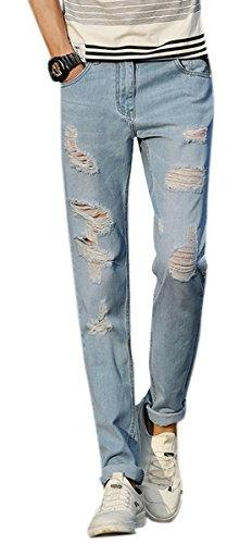 Men's Light Blue Rolled Up Skinny Fit Destroyed Ripped Shred