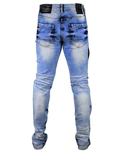 SCREENSHOTBRAND-P41810 Men's Premium Biker Pants Skinny Fit Stretch Fahion Jeans-Dk