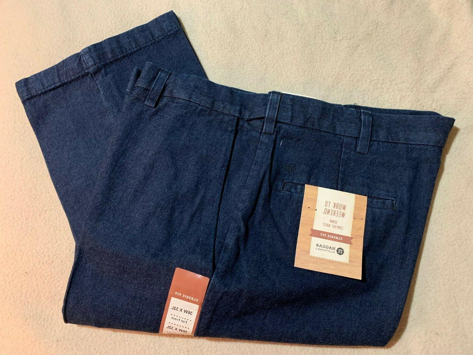Size 36 x 32 Haggar Trousers Mens New