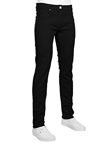 Mens Color Skinny Jeans,Black-Size 32-30