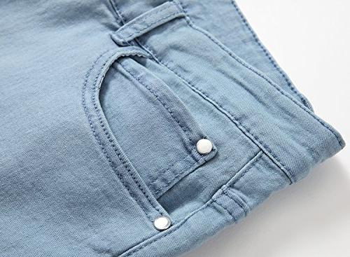 Jeans Stretch Washed Fit Pants,Light Blue,W31