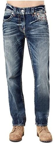 True Religion Slim Big T Red Stitched Jeans w/Flap in True I