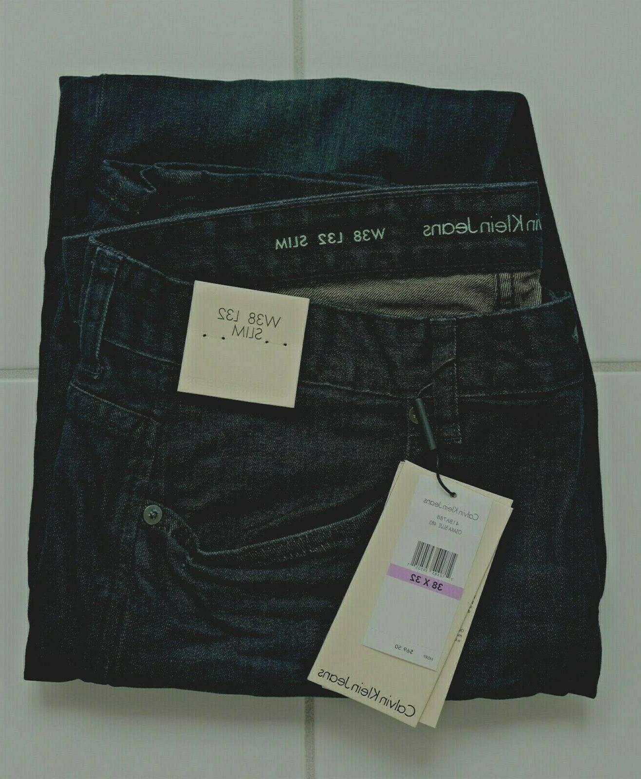 Calvin Klein Men's Slim , Osaka Blue, 32W x 32L