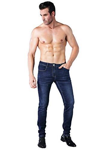 ZLZ Fit Men's Fashionable Colorful Super Stretch Fit Denim Jeans