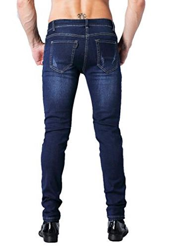 ZLZ Fit Jeans, Men's Younger-Looking Fashionable Super Skinny Fit Denim Jeans