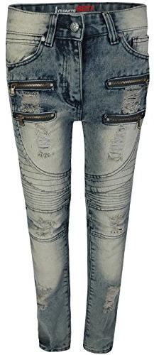CDB Boys Slim Fit Moto Jeans With Rips and tears, Moto Light