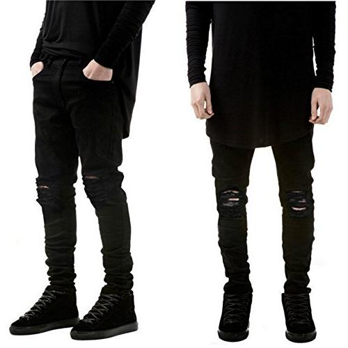 slim fit stretch destroyed ripped