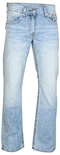 True Religion Men's Straight Leg Relaxed Fit Red Orange Stit