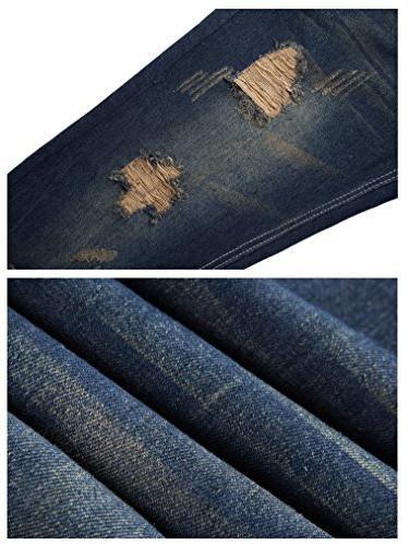 FEESON Straight Slimming Distressed Loose Denim Jeans Dark