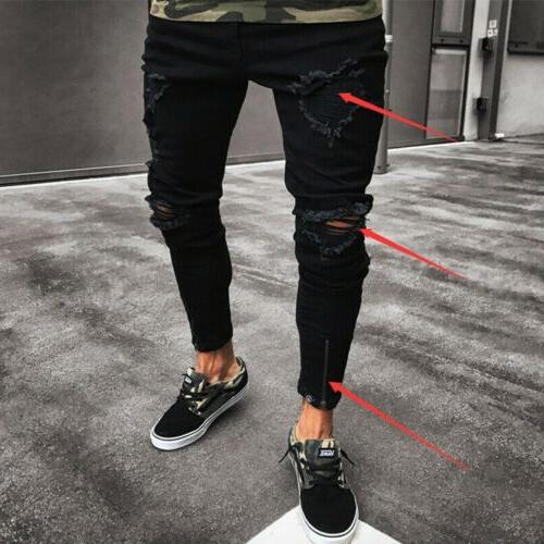 Stylish Men's Skinny Jeans Frayed Fit Pants