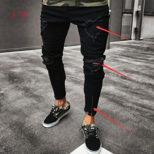 Stylish Ripped Jeans Destroyed Frayed Fit Pants Trousers