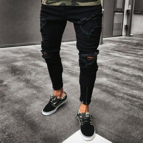 Stylish Jeans Frayed Slim Fit Pants Trousers
