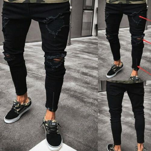 Stylish Men's Ripped Jeans Destroyed Frayed Fit Pants Trousers
