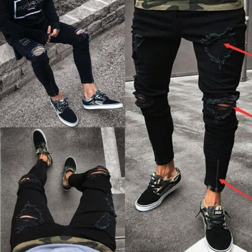 Stylish Ripped Skinny Jeans Destroyed Fit Denim Trousers
