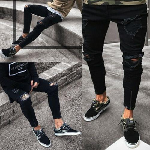 stylish men s ripped skinny jeans destroyed