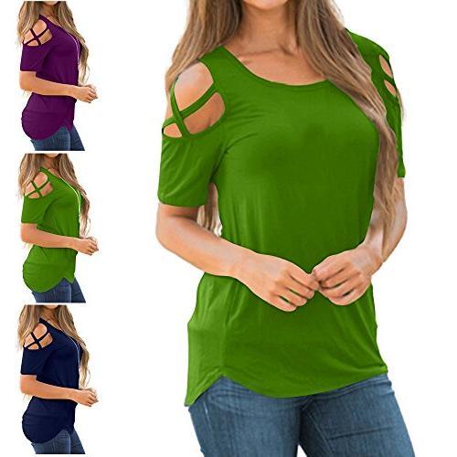 POHOK Women Three Sleeve Crisscross Strappy Shoulder T-Shirt Tops